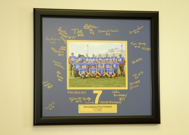 Custom Framed Team Photo with Custom Mat for signatures of team members with Custom Engraved Nameplate