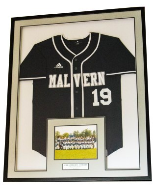 Custom Framed Jersey with One Photo and Custom Engraved Nameplate