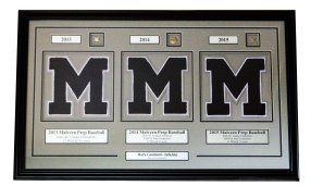 Custom Framed Letterwinner with Pins and Custom Engraved Nameplates